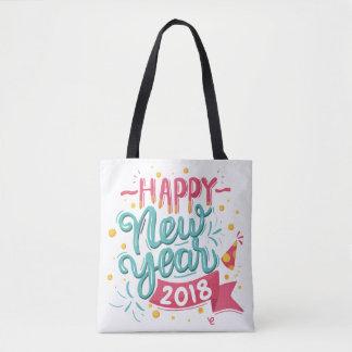 Bolsa Tote Sacola colorida customizável do feliz ano novo