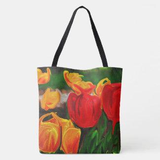 Bolsa Tote Sacola colorida da tulipa