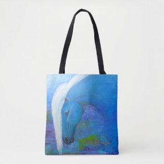 Bolsa Tote Sacola colorida do cavalo com fundo abstrato