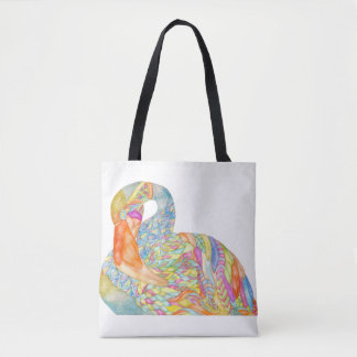Bolsa Tote Sacola colorida do flamingo com parte traseira do