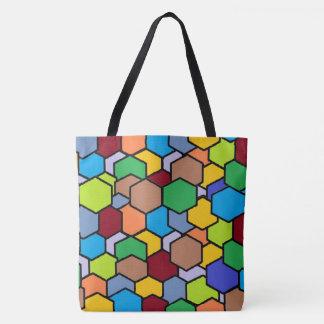 Bolsa Tote Sacola colorida do teste padrão do hexágono do