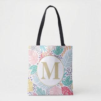 Bolsa Tote Sacola colorida tropical da colagem do monograma