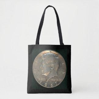 Bolsa Tote Sacola com a moeda de prata de meio dólar 1967 de