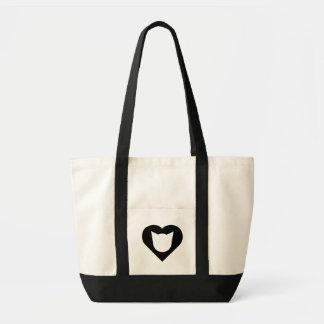 Bolsa Tote Sacola com coração com entalhe da cara do gato