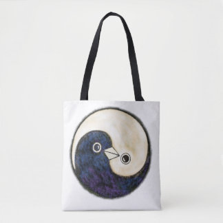 Bolsa Tote Sacola com design das pombas de Yin Yang