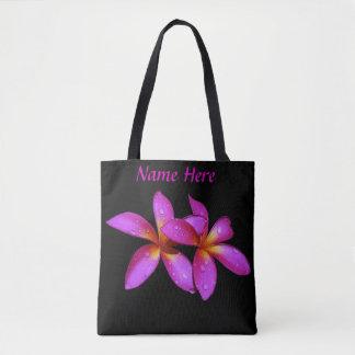 Bolsa Tote Sacola com flores havaianas e nome aqui