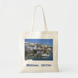 Bolsa Tote Sacola com imagem do porto de Brixham