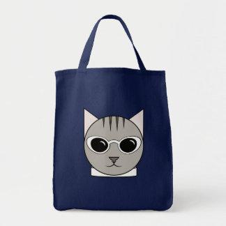 Bolsa Tote Sacola com o gato nos óculos de sol brancos do
