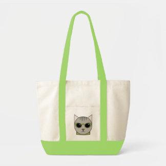 Bolsa Tote Sacola com o gato que veste óculos de sol do verde