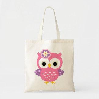 Bolsa Tote Sacola cor-de-rosa bonito da coruja