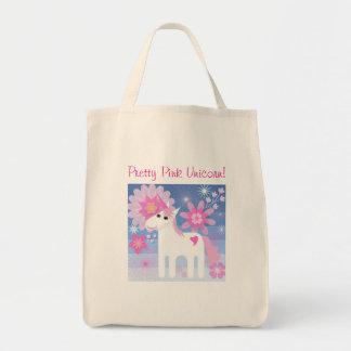 Bolsa Tote Sacola cor-de-rosa bonito do unicórnio