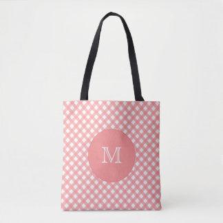 Bolsa Tote Sacola cor-de-rosa coral do monograma do impressão