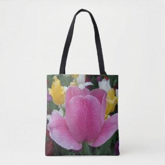 Bolsa Tote Sacola cor-de-rosa da flor da tulipa