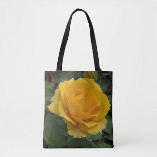 Bolsa Tote Sacola cor-de-rosa da flor do jardim amarelo lindo