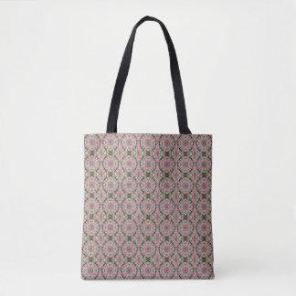 Bolsa Tote Sacola cor-de-rosa da mandala da edredão do