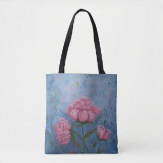 Bolsa Tote Sacola cor-de-rosa das peônias