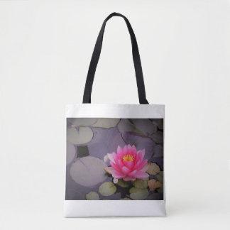Bolsa Tote Sacola cor-de-rosa de flutuação do lírio de água