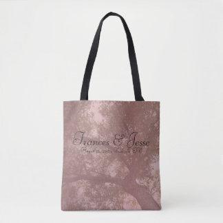 Bolsa Tote Sacola cor-de-rosa do amor da natureza da árvore