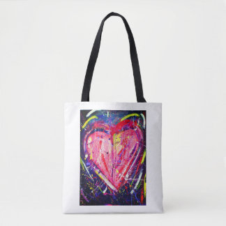 Bolsa Tote Sacola cor-de-rosa do coração do Splatter
