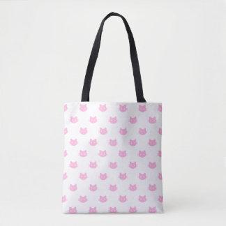 Bolsa Tote Sacola cor-de-rosa do gato