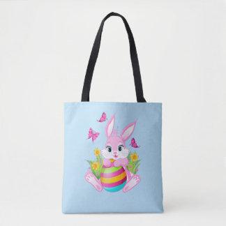 Bolsa Tote Sacola cor-de-rosa do impressão do coelhinho da