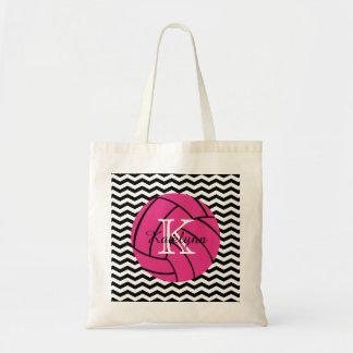 Bolsa Tote Sacola cor-de-rosa do voleibol do monograma