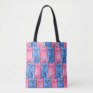 Bolsa Tote Sacola cor-de-rosa e azul do gatinho