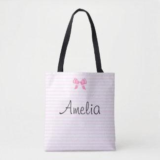 Bolsa Tote Sacola cor-de-rosa e branca personalizada da
