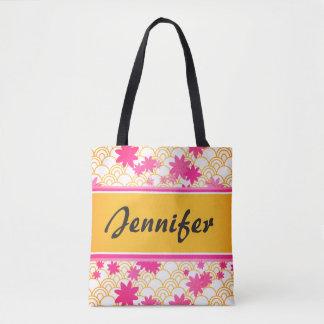 Bolsa Tote sacola cor-de-rosa floral customizável