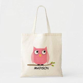 Bolsa Tote Sacola cor-de-rosa personalizada da coruja dos