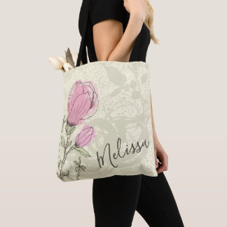 Bolsa Tote Sacola cor-de-rosa personalizada da flor da