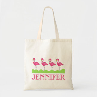 Bolsa Tote Sacola cor-de-rosa personalizada dos flamingos do