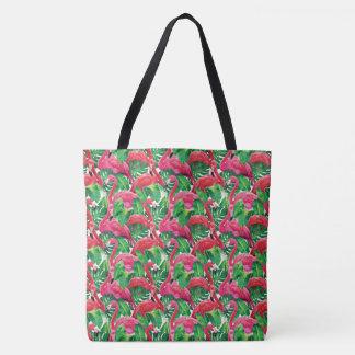 Bolsa Tote Sacola cor-de-rosa tropical do flamingo