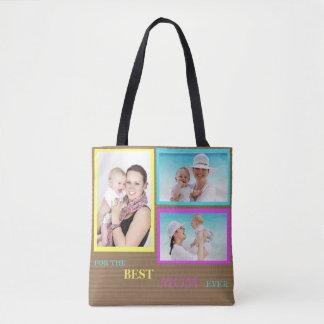 Bolsa Tote Sacola da colagem da foto do costume 3 para a mamã