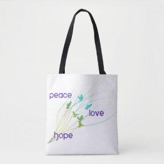 Bolsa Tote Sacola da esperança do amor da paz