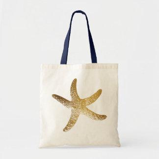 Bolsa Tote Sacola da estrela do mar do ouro