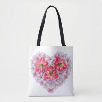 Bolsa Tote Sacola da flor do amaryllis da forma do coração