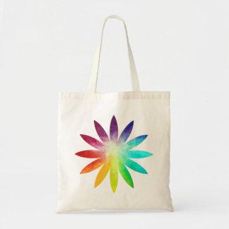 Bolsa Tote Sacola da flor do arco-íris, sacola do arco-íris