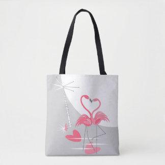 Bolsa Tote Sacola da lua do amor do flamingo grande