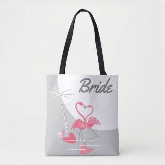 Bolsa Tote Sacola da noiva da lua do amor do flamingo grande