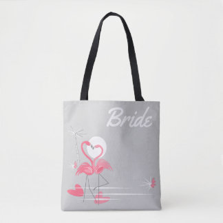 Bolsa Tote Sacola da noiva do lado do amor do flamingo