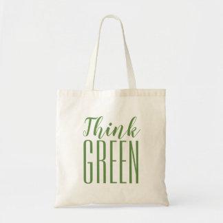 Bolsa Tote Sacola das citações do ambiente do pense verde pro