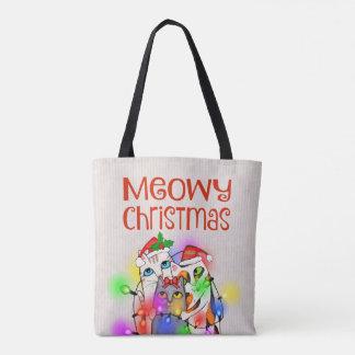 Bolsa Tote Sacola das luzes de Natal e dos gatos do papai
