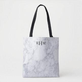 Bolsa Tote Sacola de mármore mínima do monograma