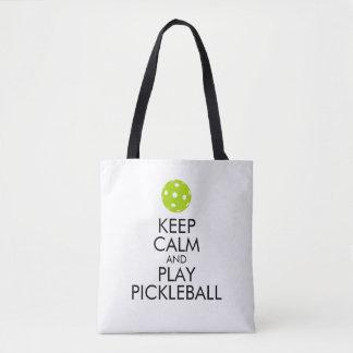 Bolsa Tote Sacola de Pickleball - mantenha a calma e o jogo