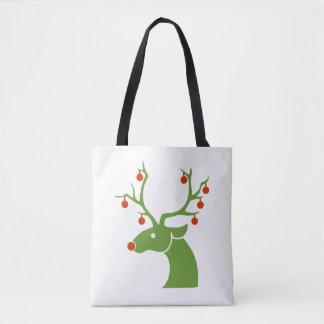 Bolsa Tote Sacola decorada do Natal de Rudolph