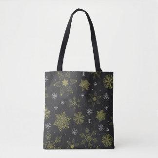 Bolsa Tote Sacola decorativa do inverno do floco de neve da