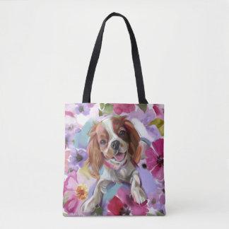 Bolsa Tote Sacola descuidado da arte do cão do blenheim da