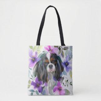 Bolsa Tote Sacola descuidado Tricolor da arte do cão da