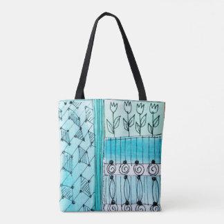 Bolsa Tote Sacola, design abstrato da tulipa, azuis